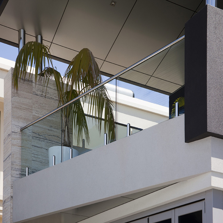 Exterior Glass Balcony Railing With Stainless Steel Spigots