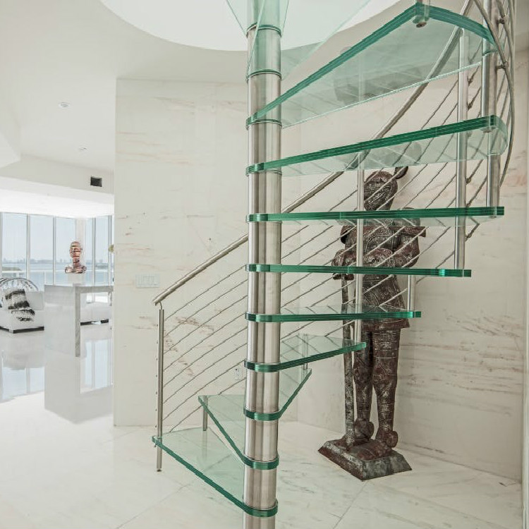 Stainless Steel Railing Glass Spiral Staircase