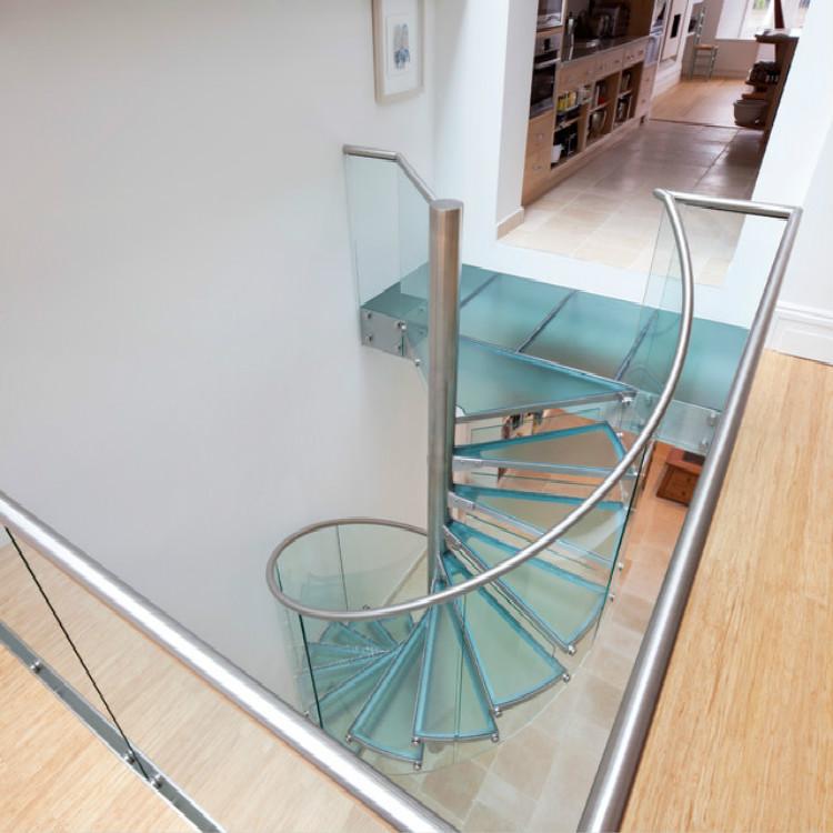Steel Handrail Glass Railing Spiral Stairway