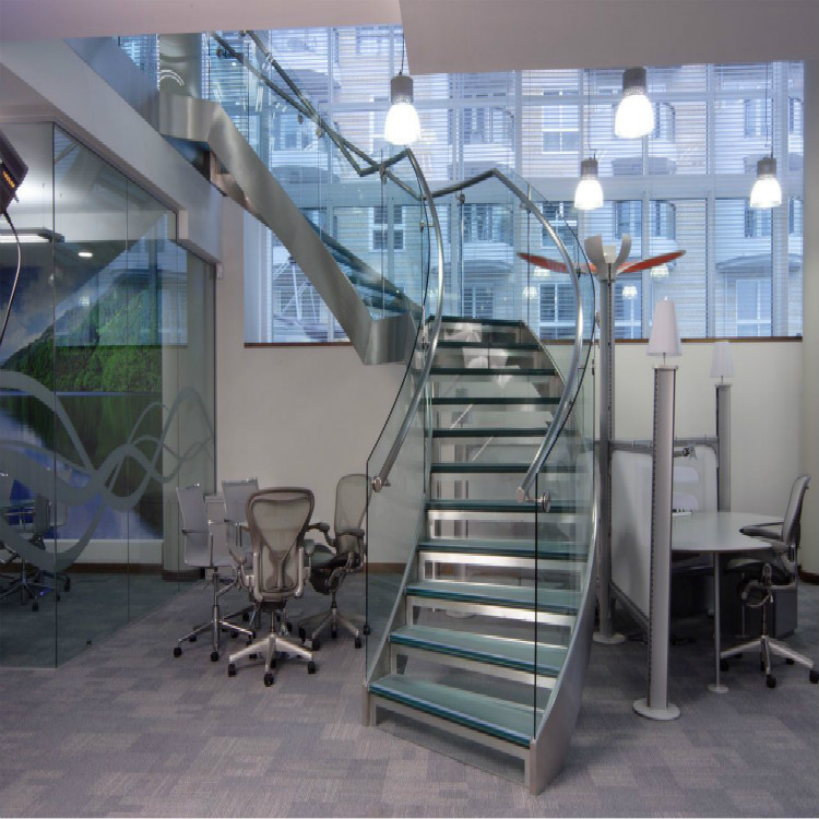 Free Standing Glass Curved Staircase