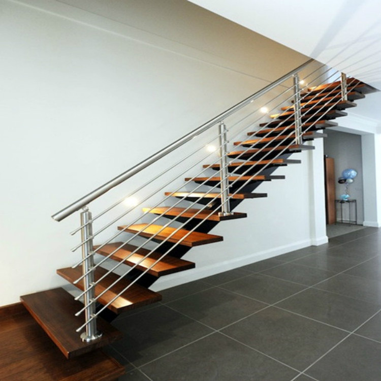 Stainless Steel Rod Railing Wood Staircase