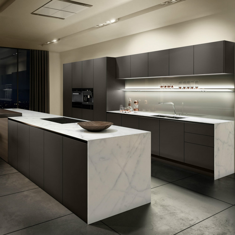 Grey Lacquer Kitchen Cabinet