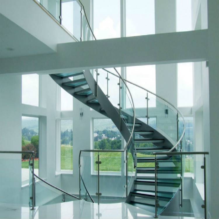 Acid Etched Laminated Glass Tread Curved Staircase