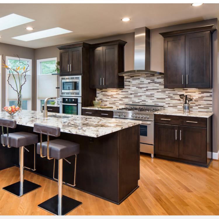 Black Solid Wood Kitchen Cabinet