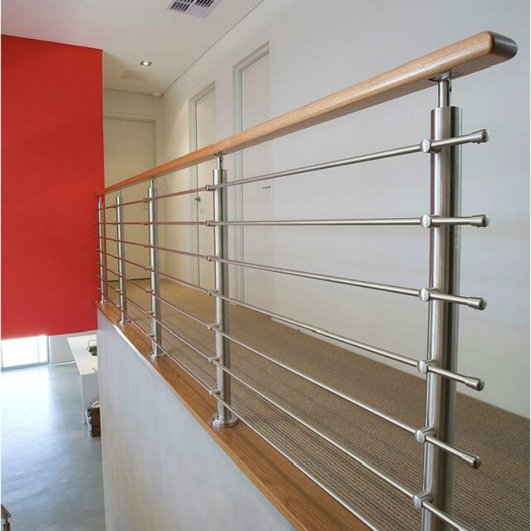Indoor Wood Top Handrail Rod Railing Design