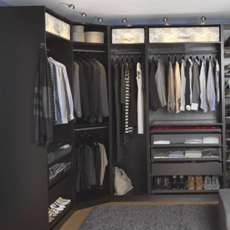 Black Melamine Walk in Closet