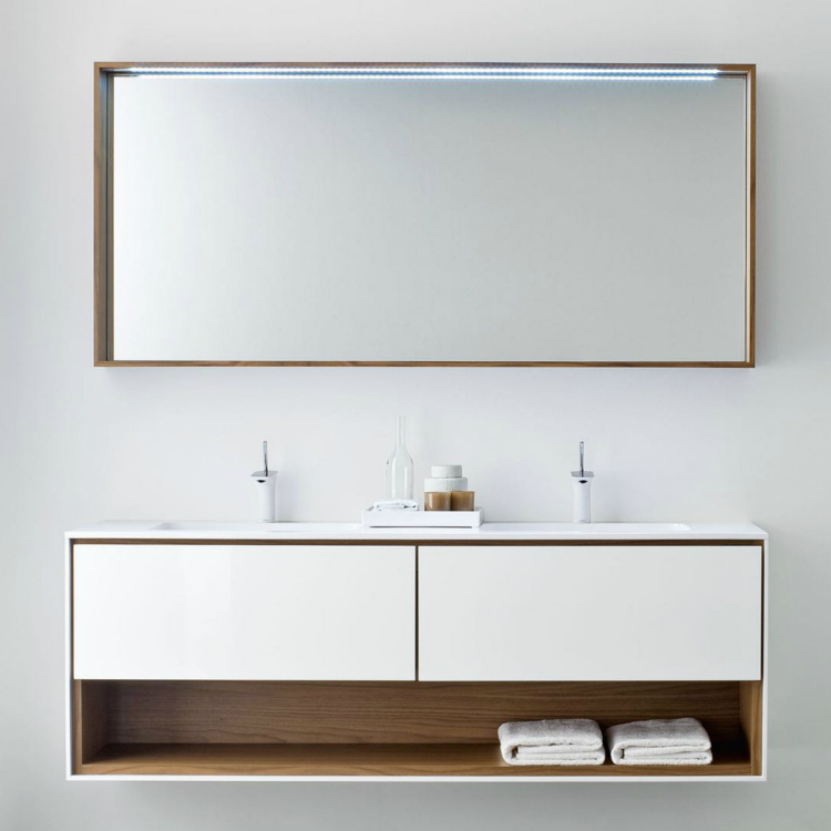 White Lacquer Customized Bathroom Vanity Cabinet