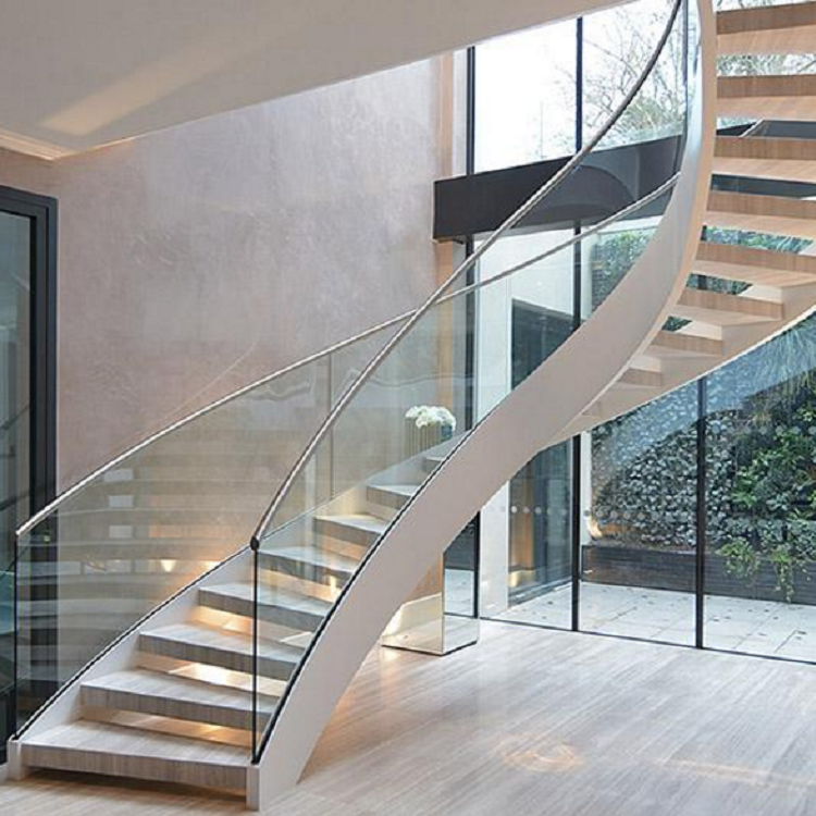 Floating Glass Railing Curved Stair