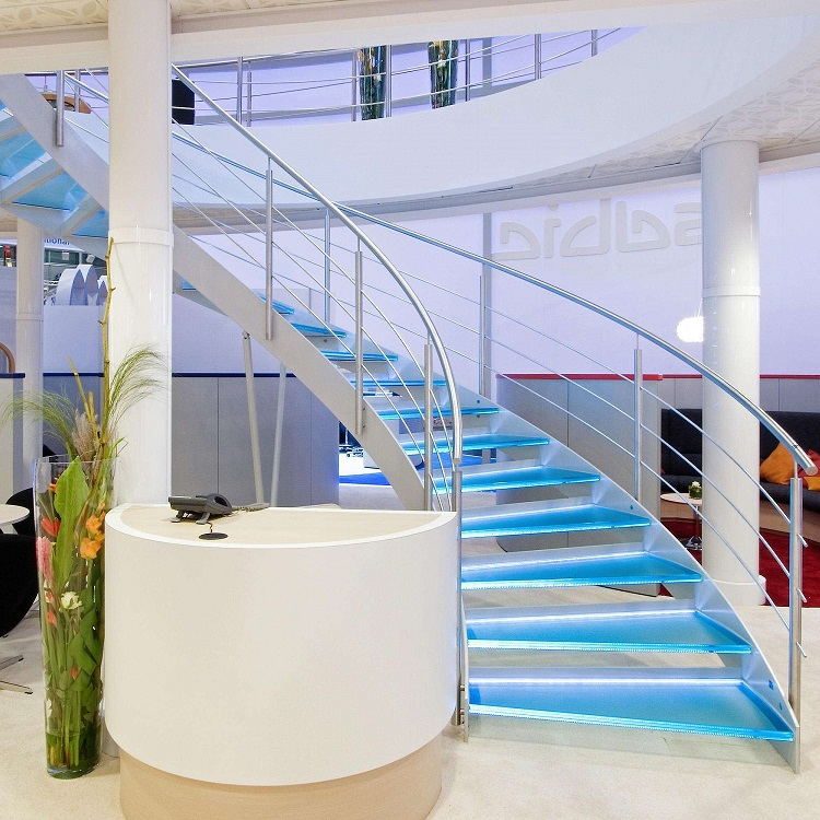 Stainless Steel Rod Railing Glass Helical Staircase