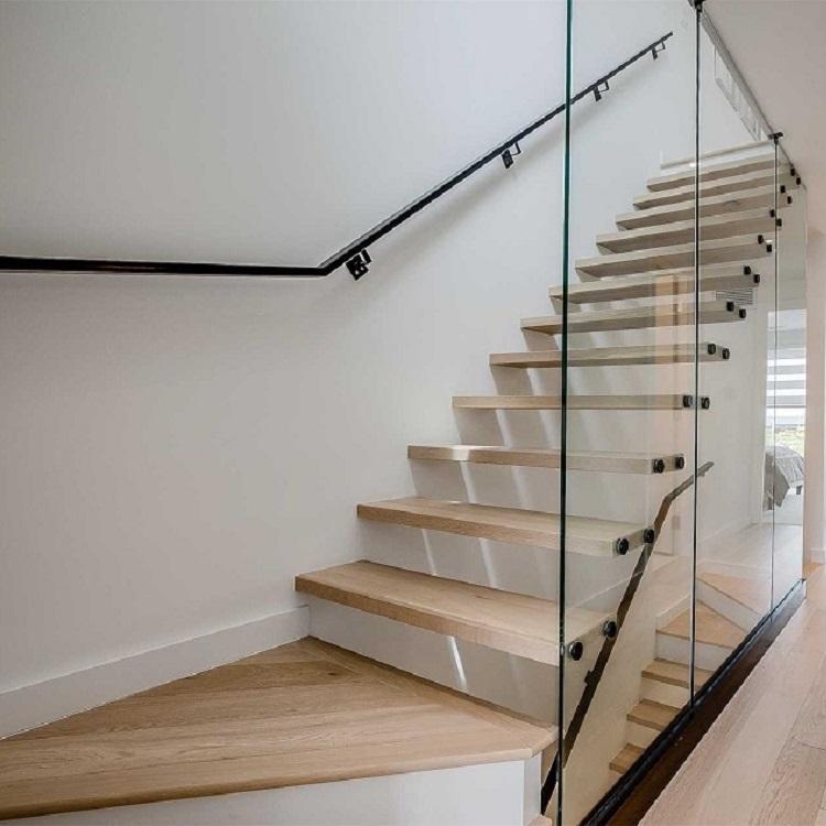 Glass Balustrade Floating Staircase Design Indoor