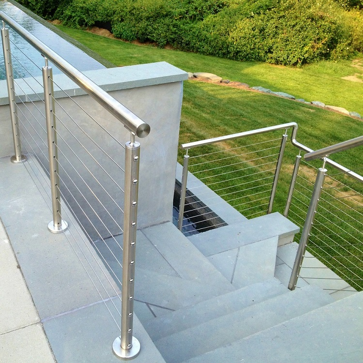 Exterior balcony brushed stainless steel cable deck railing design