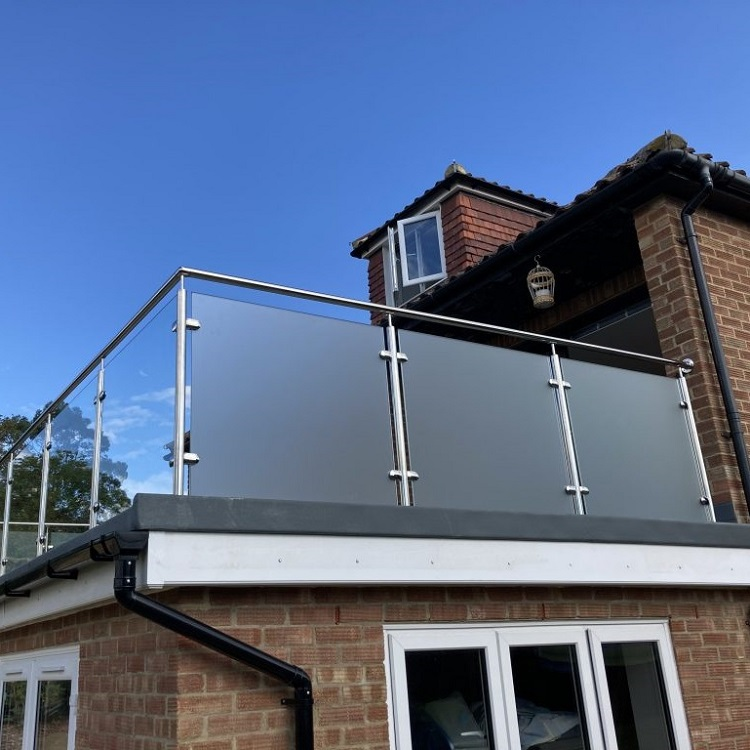 Frosted Glass Balcony Railing System
