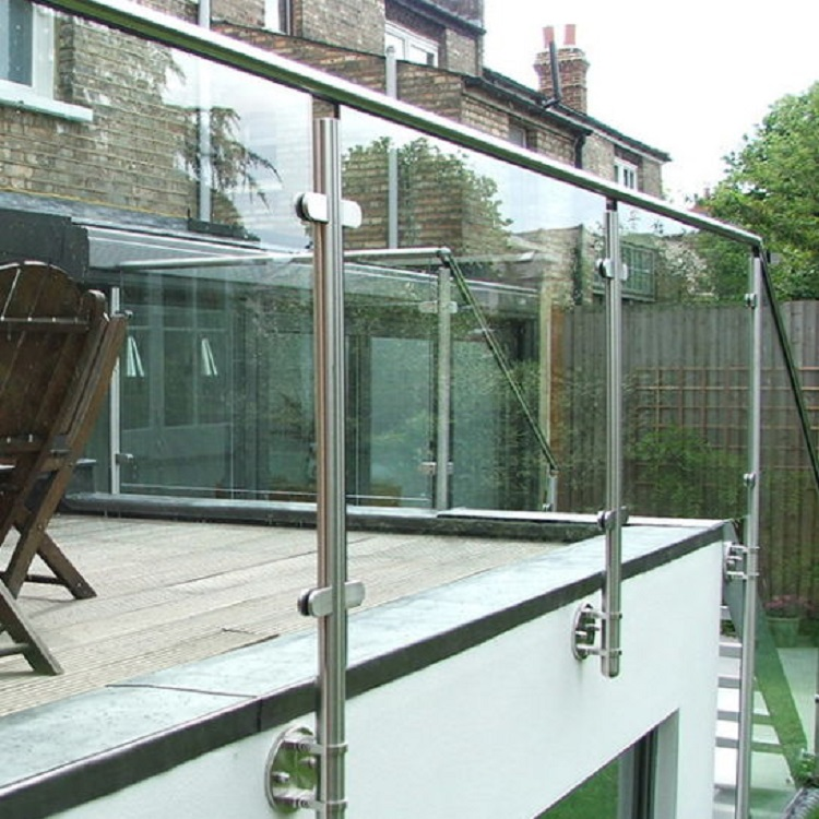 Side mounted Post Tempered Glass Railing