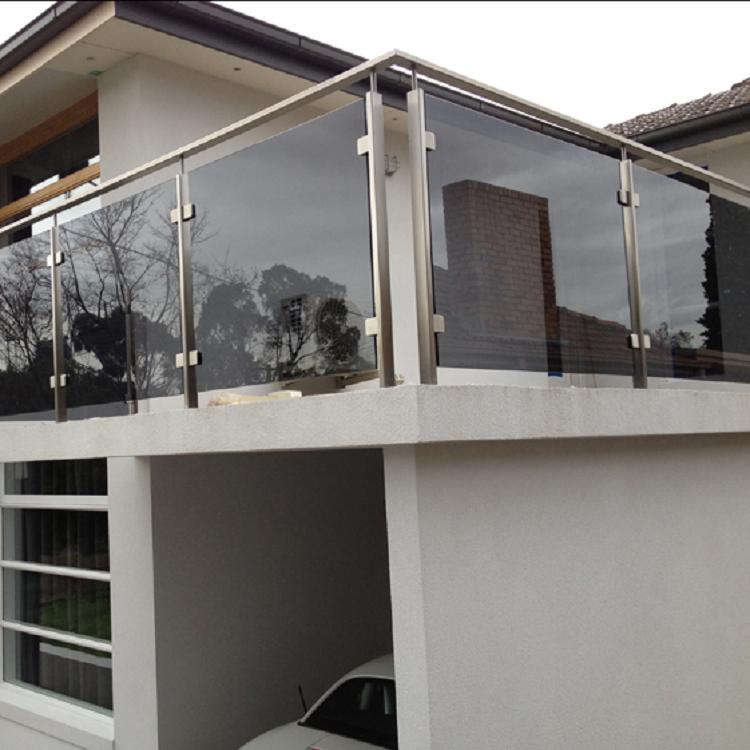 Grey glass square post railing