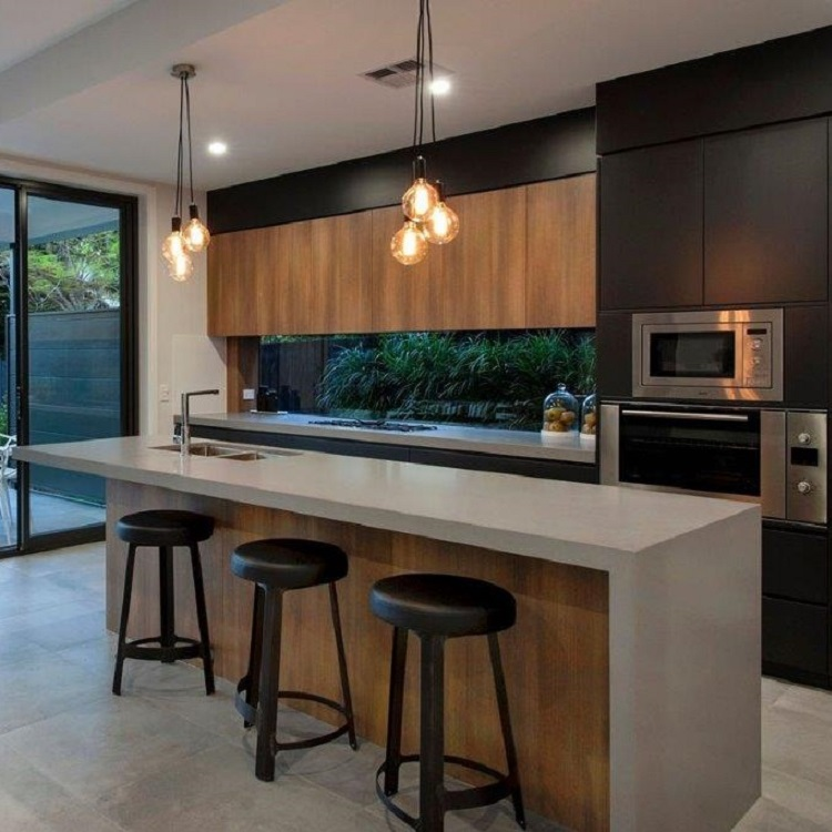 High End Contemporary Wood Veneer Kitchen Cabinets Design
