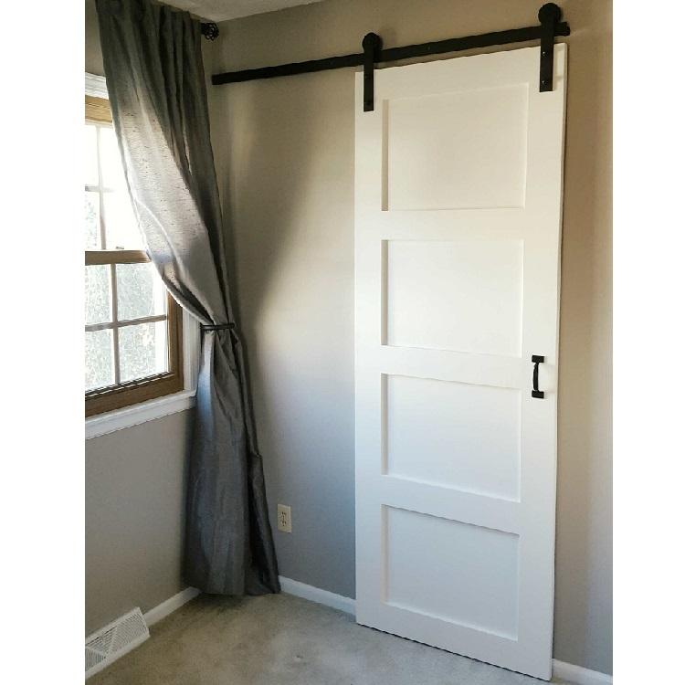 Black track&roller wood barn door