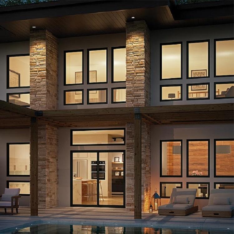 Villa Large Size Floor To Ceiling Black Frame Double Glaze Aluminum Fixed Glass Window