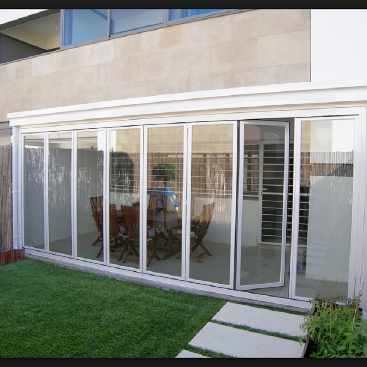 7 panel folding glass aluminum door