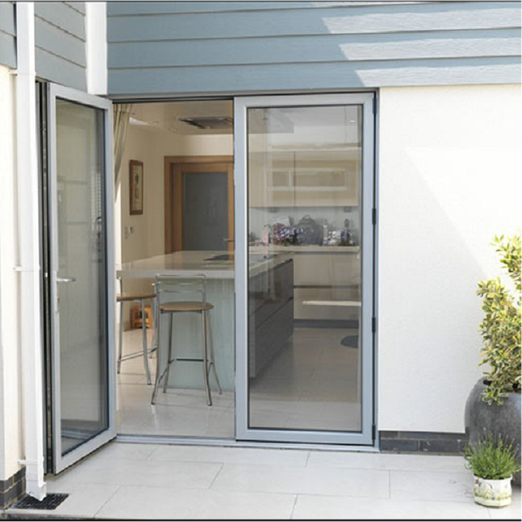 Double casement glass aluminum door