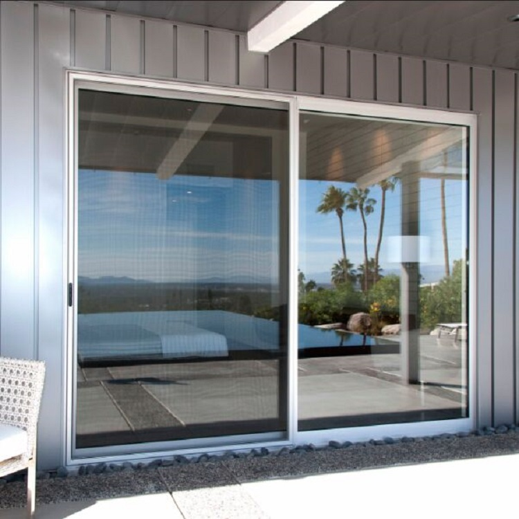 Double sliding glass aluminum door