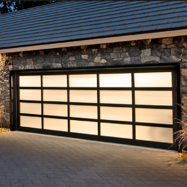 Aluminum alloy material frosted glass modern garage door